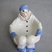 REDUCED Sitzendorf Harlequin Figural Mardi Gras Puff Dish Pierrot