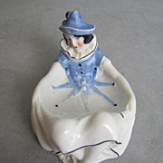SALE Sitzendorf Harlequin Figural Mardi Gras Puff Dish Pierrette