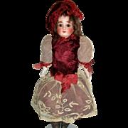 Pretty Antique Maroon Silk Doll Dress w Hat, Jumeau Bru