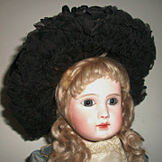 Great Straw Antique Doll Bonnet,  Wire Frame, Chin Strap
