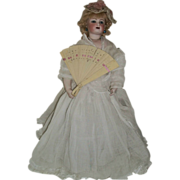 Lovely Early Celluloid Doll Fan, French Fashion