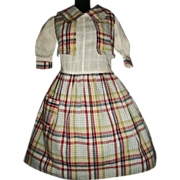 Adorable Early Vintage Plaid School Girl Doll Dress
