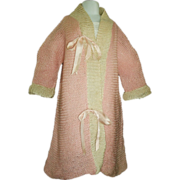 Lovely Antique Pink / White Sweater Coat, French, German, Baby Doll