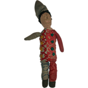 SOLD Early Made Primitive Stockinette Clown Doll