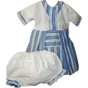 Cute Vintage Blue and White Doll Dress w Matching Undies