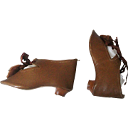 Nice Pair of Brown Leather Doll Shoes w Heels / Pom Poms