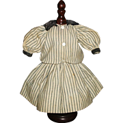 Adorable Antique Blue and White Stripe Wool Mariner Doll Dress w Slip