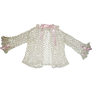 Pretty Vintage Crocheted Doll Sweater / Jacket, Pink Ribbons