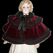 Lovely Burgundy Velvet Fashion Doll Cape w Beaded Trim