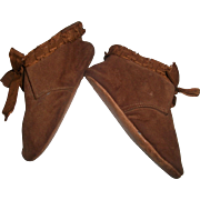 Fabulous Pair of Antique Brown Suede Leather Baby/ Doll Booties