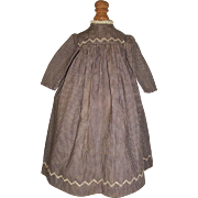 Sweet Vintage Purple and White Check Doll Dress, Cloth, Papier Mache