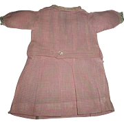 Sweet Pink and White Cotton Check Early Made Doll Dress