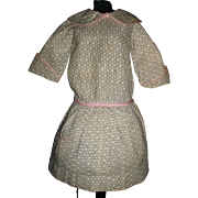 Sweet Vintage Cotton Doll Dress, Pink and Grey