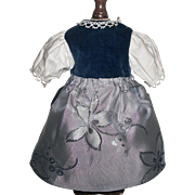 Pretty Factory Doll Dress w Apron and Chemise