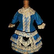 Beautiful Antique Blue Silk 3 Pc French Fashion Dress