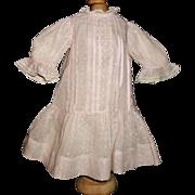 Sweet Early Pink Swiss Drop Waist Doll Dress, Handwerck, Kestner, French or German