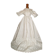 Lovely Antique Doll Gown, Fabulous Eyelet Bodice and Skirt