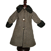 Early Vintage Black and White Fashion Doll Coat, Fur Trim