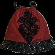 Vintage Draw String Doll Purse, Black Jet Beads