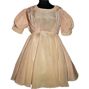 Pretty Vintage Pink Silk Crepe Doll Dress