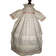 Lovely Antique Doll Dress, Red Feather Stitching