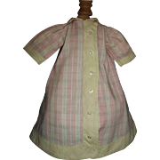 Cute Vintage Pink Plaid Cotton Doll Dress