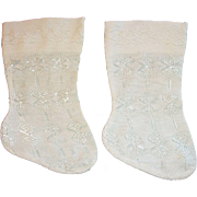 Lovely Pair of Early Silk Doll Stockings, French / German