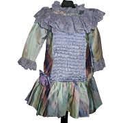 Pretty Lavender Silk Drop Waist Doll Dress. Kestner, Handwerck