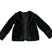 Fabulous Antique Victorian Velvet Child Coat, Soutache Trim