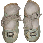 Nice Pair of Antique  Blue Leather Doll Shoes