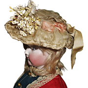Fabulous Antique Wire Brim French Fashion Doll Hat