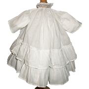 White Antique Doll Dress w Ruffles