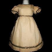 Early Vintage Doll Dress, Large Papier Mache, Cloth, Damage