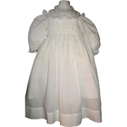 Beautiful Early White Cotton Lawn Doll Dress, Large French / German