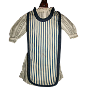 Nice Antique Black Stripe Doll Dress w Apron, China