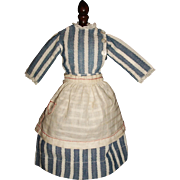 Lovely Early  Blue / White China Doll Chambray Dress, Apron and Petticoat