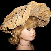 Vintage Corduroy Doll Hat, Wire Frame