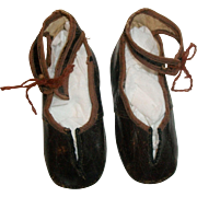 Nice Pair of Antique Leather Doll Shoes