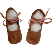 Pair of Early Vintage  Brown Leather Doll Shoes