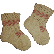 Sweet Pair of Antique Wool Doll Stockings
