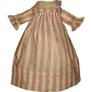 Sweet Pink Stripe Antique Doll Dress, Rag, Cloth