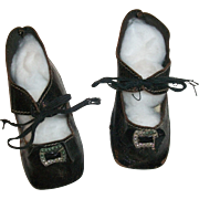 Nice Pair of Antique Black Leather Heeled Doll Shoes
