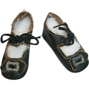 Nice Pair of Small Antique Black Oil Cloth Doll Shoes