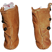 Pair of Antique Brown Leather Fashion Doll Boots, TLC