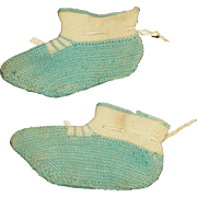 Wonderful Pair of Antique Knit Booties / Shoes for a China, Papier Mache