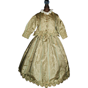 Wonderful Vintage Made Silk 2 Pc Doll Dress. Antique Fabric