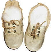 Cute Pair of Antique Doll Shoes. Boy / Character