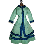 Lovely Antique French Fashion Doll Walking Suit, Wool Damage