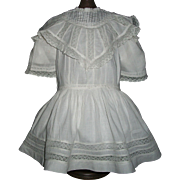 Fabulous Antique White Doll Dress, Kestner, Handwerck