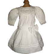 Pretty Bright White Cotton Doll Dress, Small Kestner, Handwerck